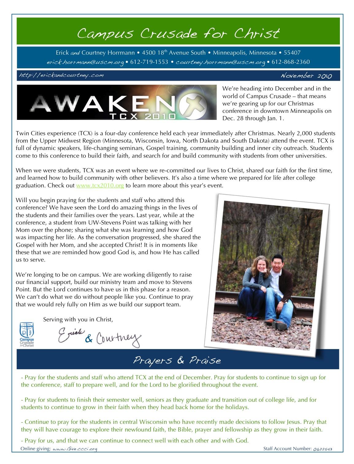 November Prayer Letter