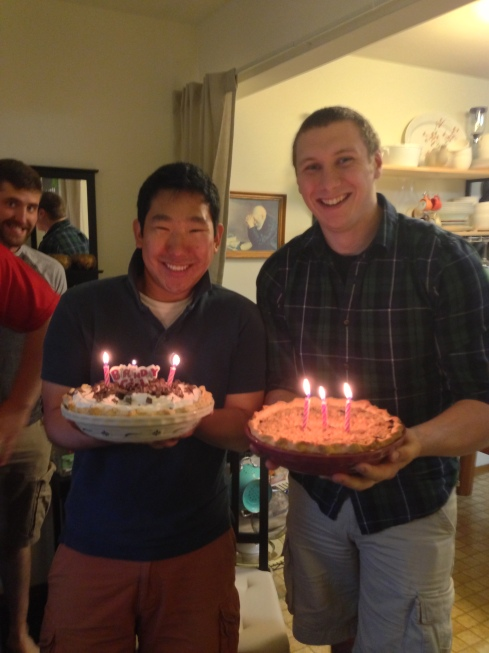 Erick & Lee with their birthday pies!